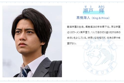 【ドラゴン桜2021】瀬戸 輝(せとあきら)役/髙橋 海人(King & Prince)